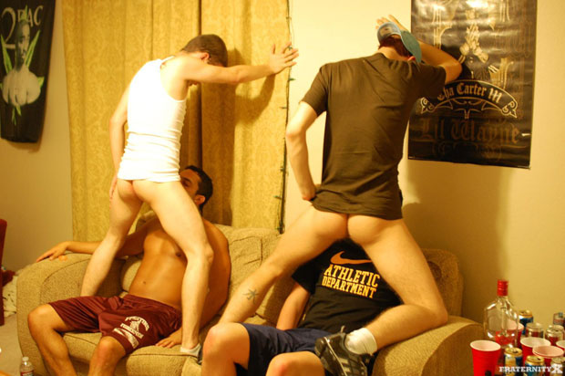 Watch Anthony, Seth, Bently and Jose have bareback sex at FraternityX