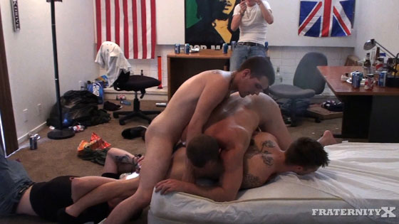 Watch the new guy have bareback sex at FraternityX