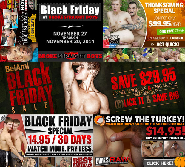 Thanksgiving, Black Friday and Cyber Monday Bareback Porn Deals