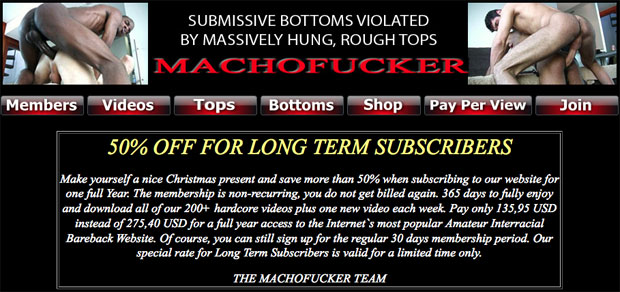 Machofucker 50% Off for Long Term Subscribers