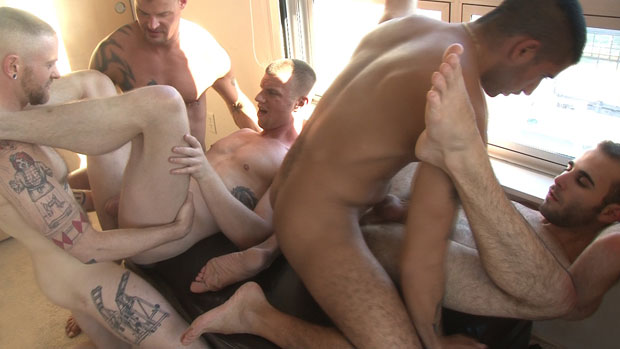 AJ Long, Derrick Hanson, Blake Daniels, Sebastian Rio and Cole Hudson - RawFuckClub.com