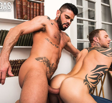 Two Tattooed Studs Take Turns Barebacking Each Other at Lucas Entertainment