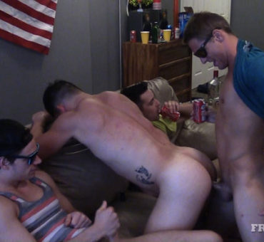 The Muscle Jocks at FraternityX Continue to Bareback Warm Asses and Mouths