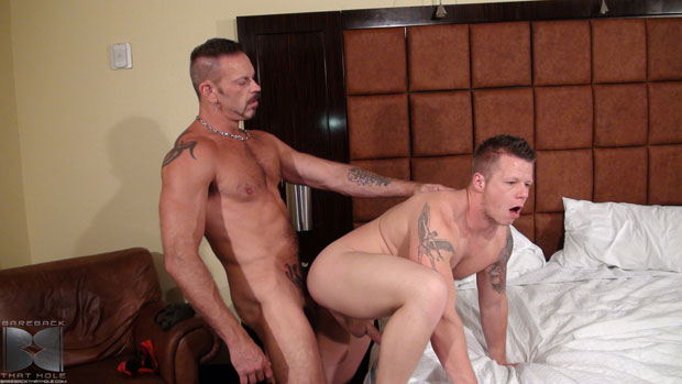 Watch Colin Steele and Travis Turner have bareback sex at Bareback That Hole