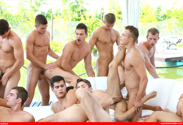 Get ready for the 24 guy bareback sex orgy at Bel Ami Online