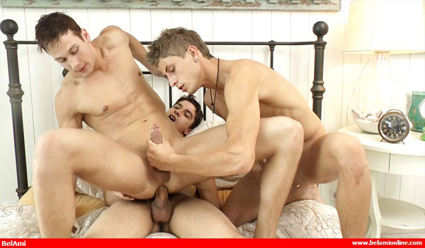 Watch Jack Harrer, Paul Valery and Marcel Gassion have bareback sex at Bel Ami Online