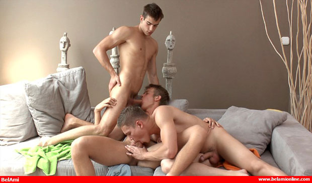 Watch Tom Pollock, Scott Bennet and Claude Sorel have bareback sex at Bel Ami Online