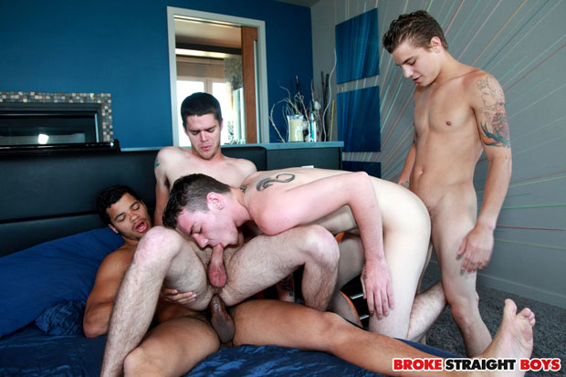 Watch Tyler White, Ryan Fields, Skyler Daniels and Kaden Alexander have bareback sex at Broke Straight Boys