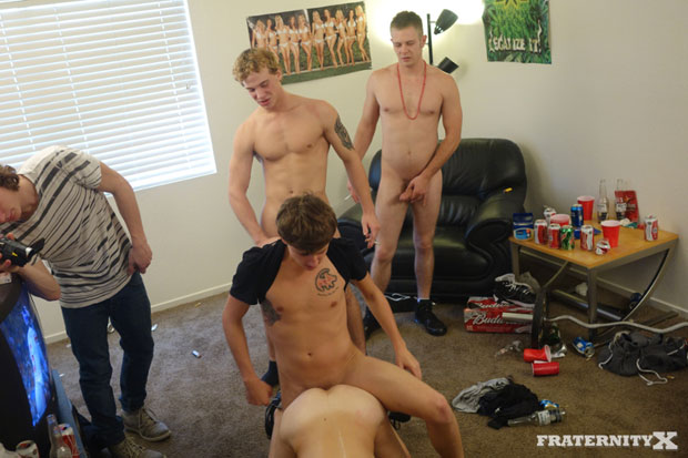 Watch Stiffer, Sage, Ryan, Chris and Kale have bareback sex at FraternityX