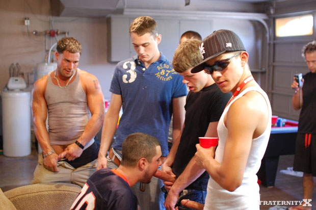 Watch Jackson, Trevor and the horny guys have bareback sex at FraternityX