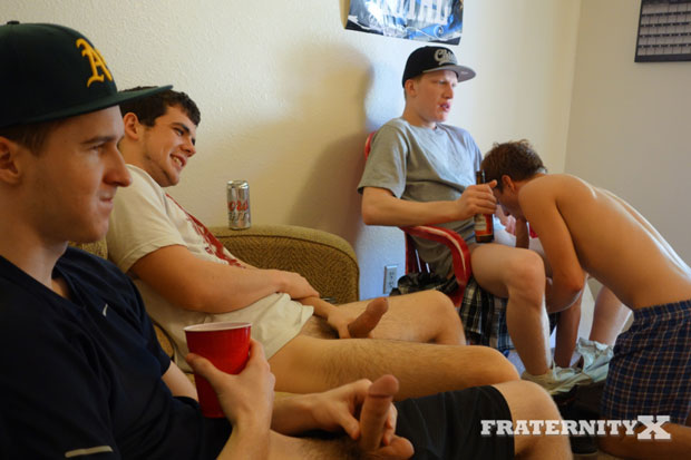Watch Josh, Owen, Alexander, Blake and Bradley have bareback sex at FraternityX