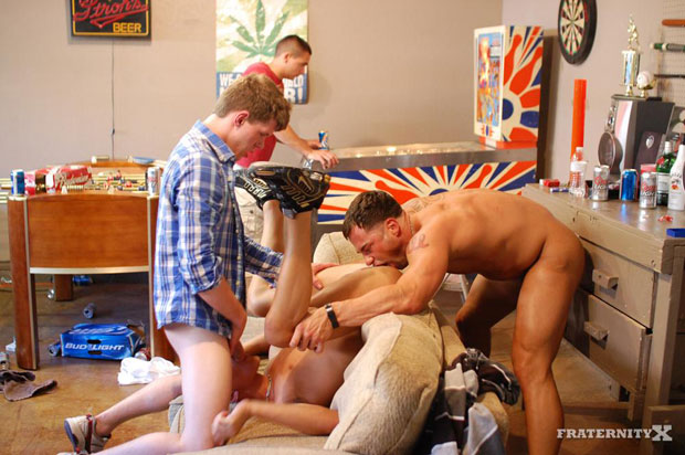 Watch Ethan, Jackson and Benny have bareback sex at FraternityX