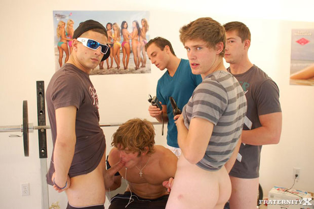 Watch Morgan, Andy, Jansen and Will have bareback sex at FraternityX
