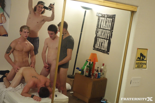 Watch Sage, Kale, Nick, Cowboy and Andrew have bareback sex at FraternityX