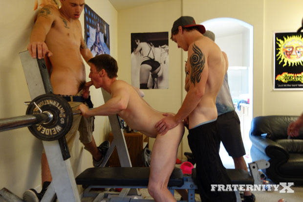Watch Anthony, Matthew, Stiffer, AJ, Toby, Troy and Trevor have bareback sex at FraternityX