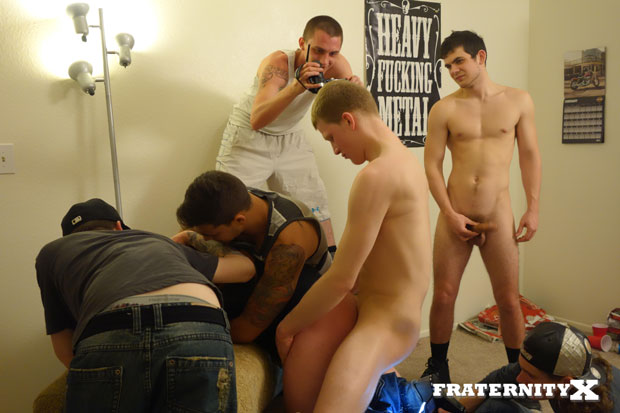 Watch Brad, Blake, Alex and Owen have bareback sex at FraternityX