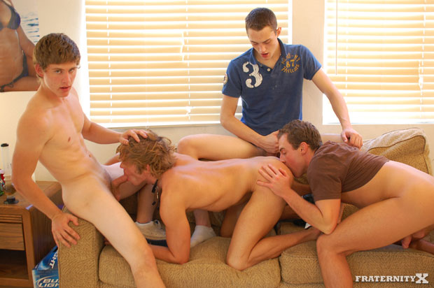 Watch Angelo, Shawn, Jansen and Morgan have bareback sex at FraternityX