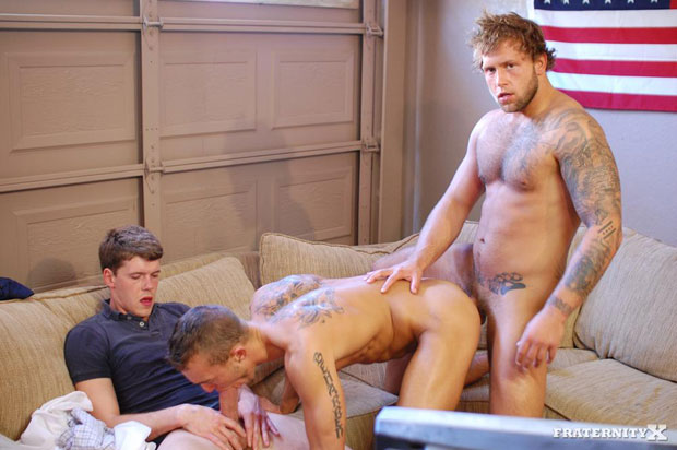 Watch Jackson, Carter and Grant have bareback sex at FraternityX
