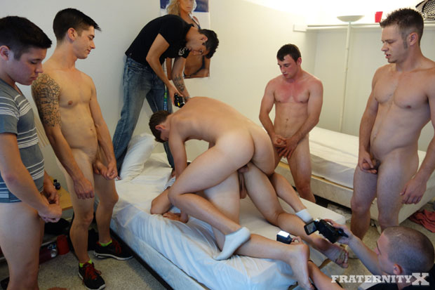 Watch Sean, Stiffer, Ryan, Scott, Travis and Danny have bareback sex at FraternityX