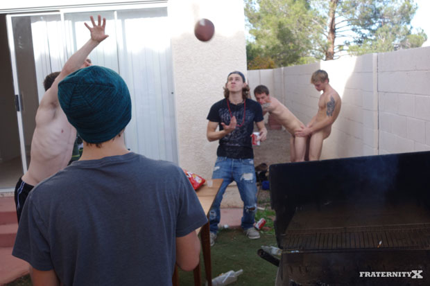 Watch Sage, Andrew, Stiffer and Chris have bareback sex at FraternityX