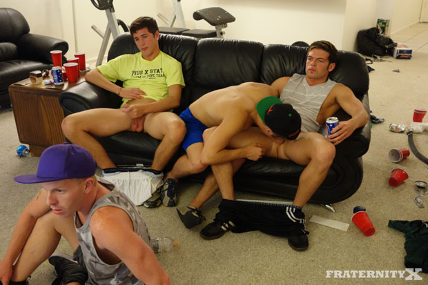Watch Zach, Danny, Morgan and Andrew have bareback sex at FraternityX