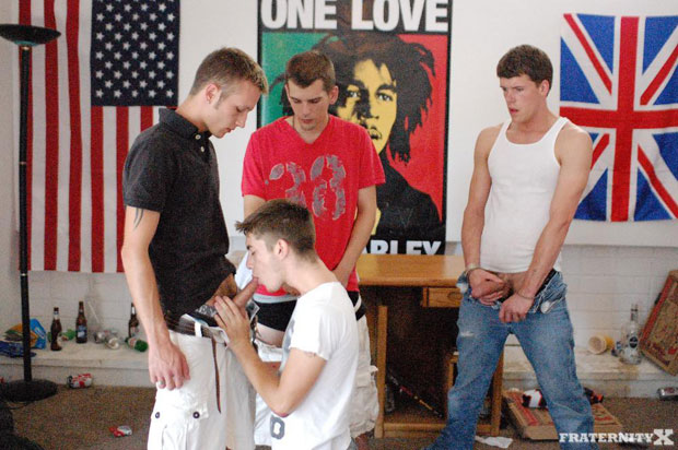 Watch Travis, Jackson, Tyler and Anthony have bareback sex at FraternityX