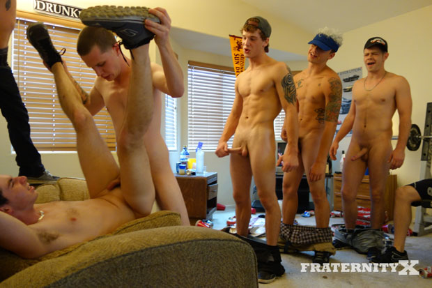 Watch Anthony, Trevor, AJ, Cadence, Stiffer, Troy and Toby have bareback sex at FraternityX