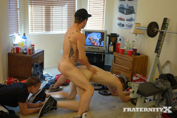 Watch Stiffer, Jay, Troy, Liam, AJ and Trevor have bareback sex at FraternityX