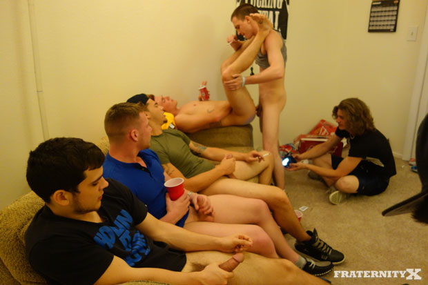 Watch Brad and Four Frat Brothers have bareback sex at FraternityX