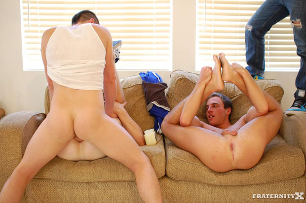 Watch Jansen, Kevin and Angelo have bareback sex at FraternityX