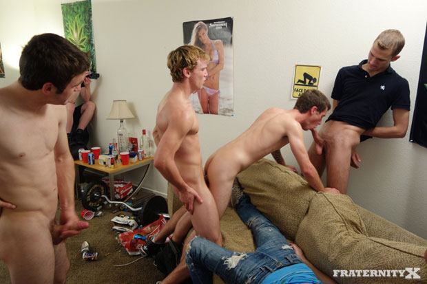 Watch Sage, Chris, Nick and Andrew have bareback sex at FraternityX