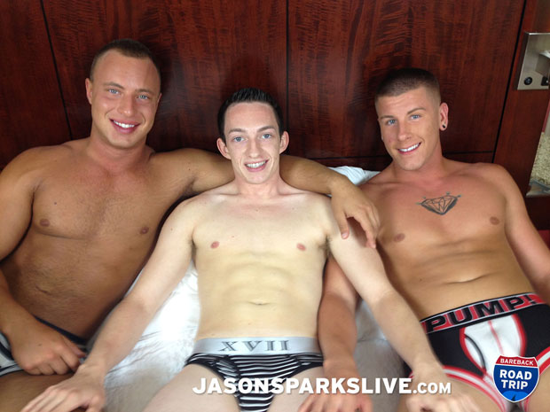 Watch Dustin Tyler, Brendon Scott and Tanner Bradley have bareback sex at Jason Sparks Live