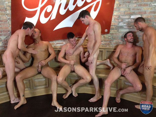 Watch Dustin Tyler, Shawn Andrews, Brendon Scott, Corbin Riley, Antonio Paul and Jake Matthews have bareback sex at Jason Sparks Live