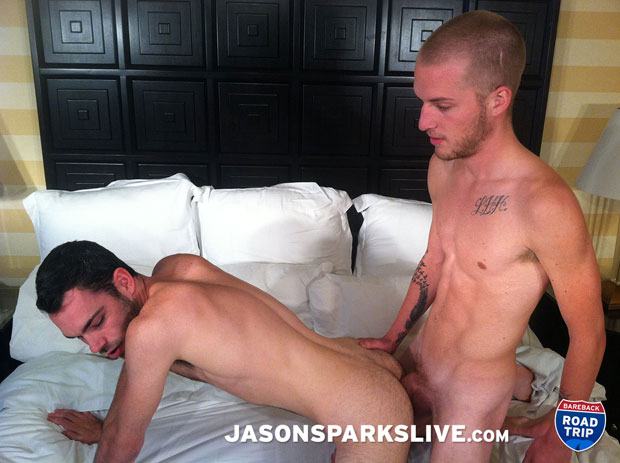 Watch Parker Lewis and Brandon Atkins have bareback sex at Jason Sparks Live