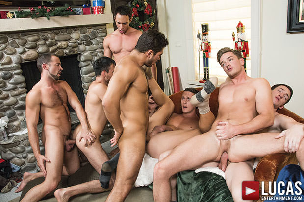 Watch Tanner Bradley, Nigel Banks, Dato Foland, Santiago Figueroa, Lucas Knight, Ivan Gregory and Donnie Dean have bareback sex at Lucas Entertainment