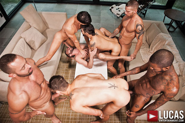 Jed Athens, Draven Torres, Shane Frost, Marcus Isaacs, Rafael Carreras, Hotrod, and Fabio Stallone - LucasEntertainment.com
