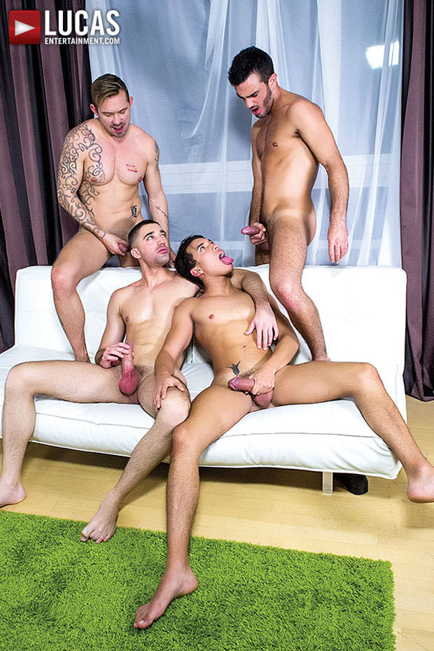 Watch Joey Pele, Alejandro Alvarez, Esteban Nice and Brice Farmer have bareback sex at Lucas Entertainment