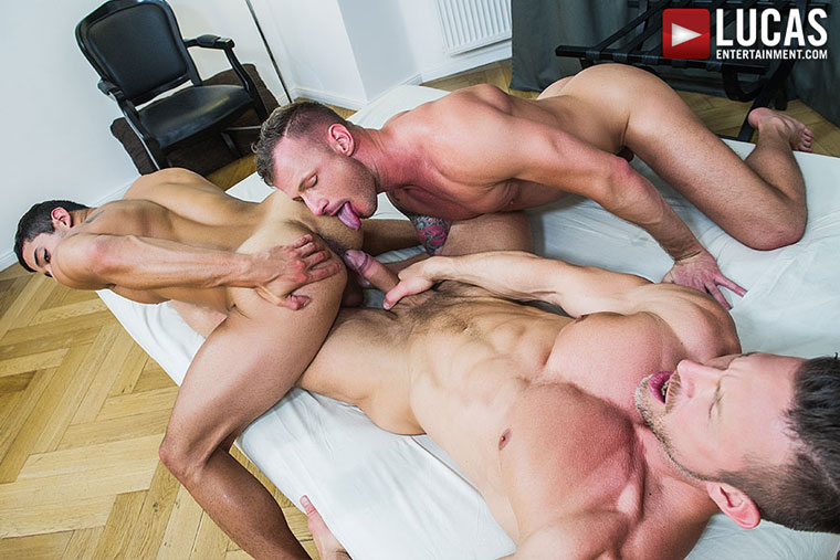 Watch Logan Rogue, Tomas Brand and Drae Axtell barebacking at Lucas Entertainment