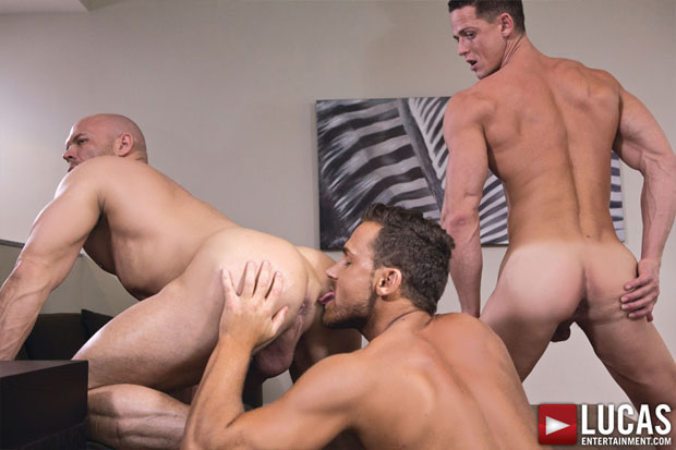 Watch Marco Milan, Ivan Gregory and Logan Moore have bareback sex at Lucas Entertainment