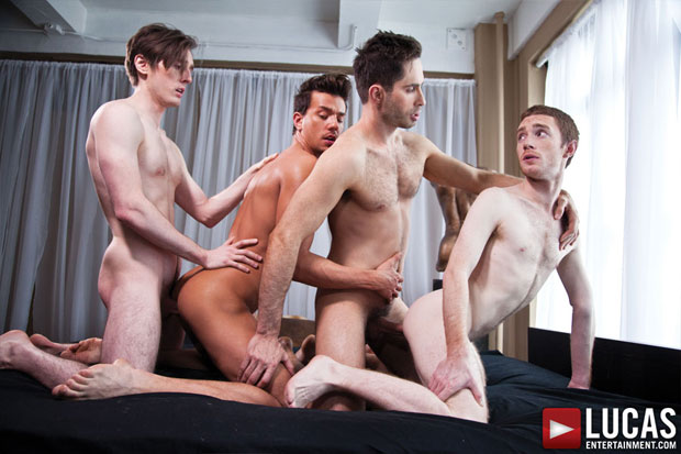 Watch Michael Lucas, Seamus O'Reilly, Seth Roberts and Dirk Wakefield have bareback sex at Lucas Entertainment