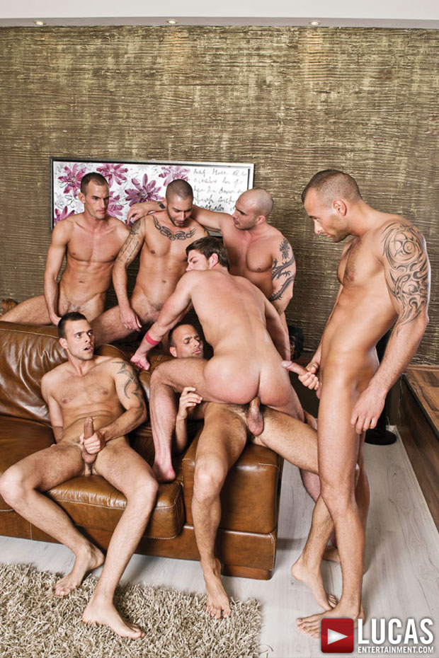 Watch Franko Gold, Jason Visconti, Jimmy Visconti, Joey Visconti, Mike, Ricky Bombay and Toby Dutch have bareback sex at Lucas Entertainment