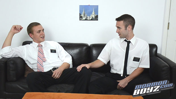 Watch Elder Buckley and Elder Riley have bareback sex at Mormon Boyz