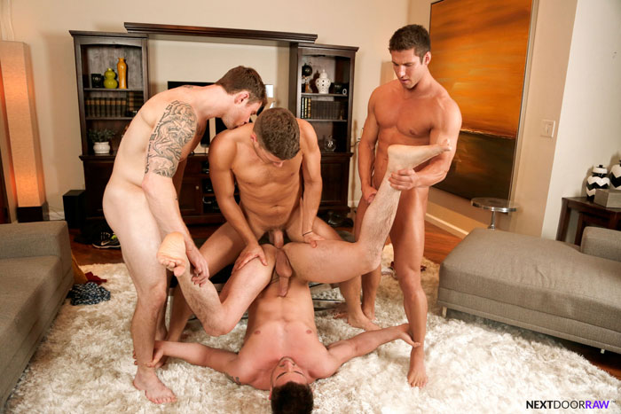 Markie More, Derrick Dime, Bridger Watts and Rod Peterson Barebacking - Next Door Raw