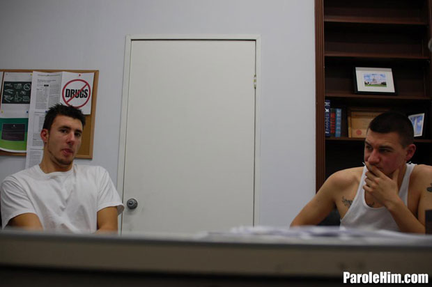 Watch Mike Covington and Benjamin Gibson have bareback sex at Parole Him