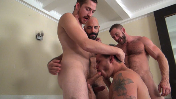Watch Dayton O'Connor, Tate Ryder, Shay Michaels and Adam Russo have bareback sex at Raw Fuck Club