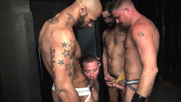 Watch Max Cameron, Christian Matthews, Kory Mitchel and Dean Brody have bareback sex at Raw Fuck Club