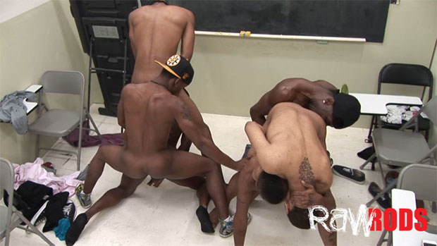 Watch Dewayne King, Drummer Boi, Dustin Pope, Keior Sanders, Marco Ashton and Travis Davis have bareback sex at Raw Rods