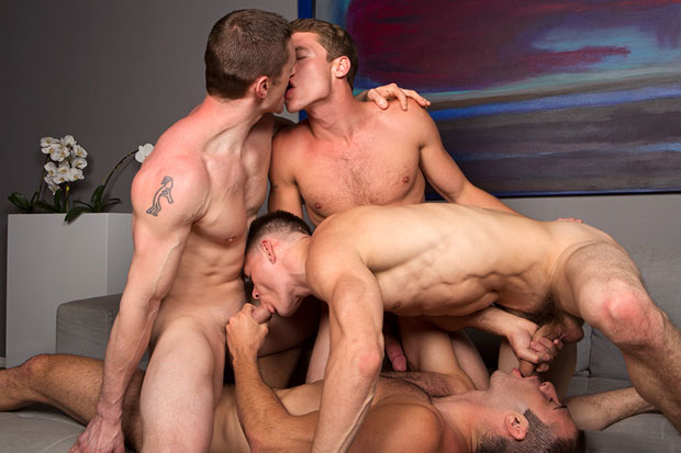 Watch Dennis, Liev, Taylor and Jarek have bareback sex at Sean Cody