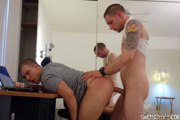 Chase, Eli, Jay and an Unknown Guy - SketchySex.com