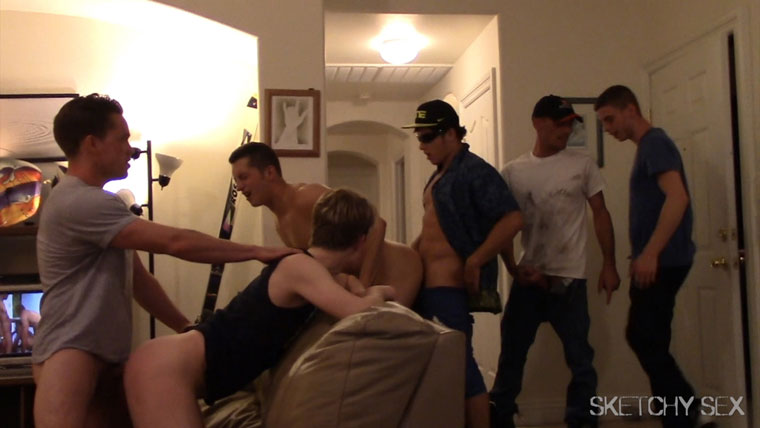 Watch Brett, Sam, Drake, Wolf, Nicoli, Lucas and Zak barebacking at Sketchy Sex
